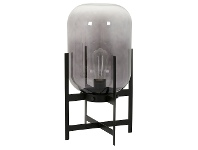 LivingStyles Tanque Steel & Glass Table Lamp, Black