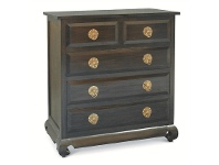 LivingStyles Wowoni Solid Mahogany Timber 5 Drawer Tallboy - Chocolate