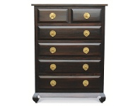 LivingStyles Wowoni Solid Mahogany Timber 6 Drawer Tallboy - Chocolate