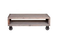 LivingStyles Gordon Reclaimed Pine Timber Coffee Table with Steel Castors, 140cm