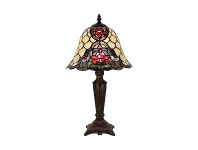 LivingStyles Alicia Tiffany Style Stained Glass Table Lamp, Small