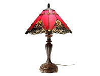 LivingStyles Benita Tiffany Style Stained Glass Table Lamp, Medium, Red