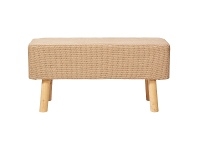 LivingStyles Rover Jute & Pine Timber Ottoman Bench