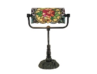LivingStyles Red Camellia Tiffany Style Stained Glass Bankers Table Lamp