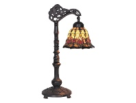 LivingStyles Red Tulip Tiffany Style Stained Glass Edwardian Table Lamp