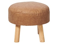 LivingStyles Rover Faux Leather & Pine Timber Round Ottoman Stool, Tan