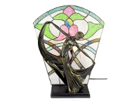LivingStyles Mazie Tiffany Style Stained Glass Figurine Decor Lamp, Ivory