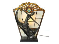 LivingStyles Mazie Tiffany Style Stained Glass Figurine Decor Lamp, Amber