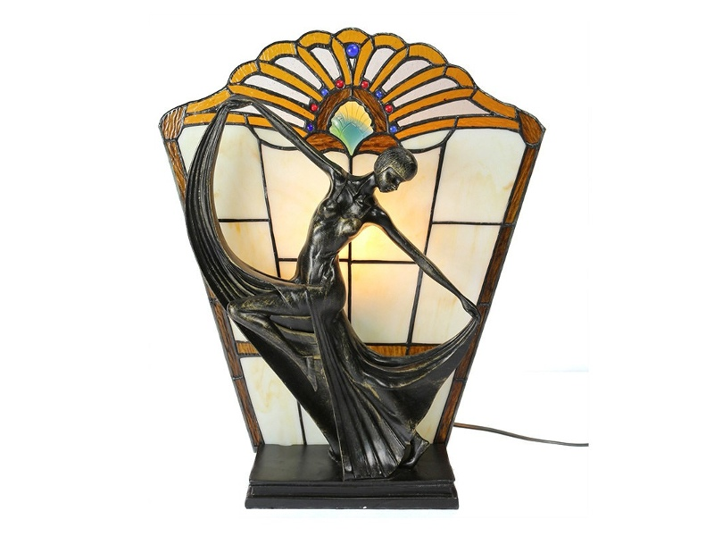Mazie Tiffany Style Stained Glass Figurine Decor Lamp, Amber