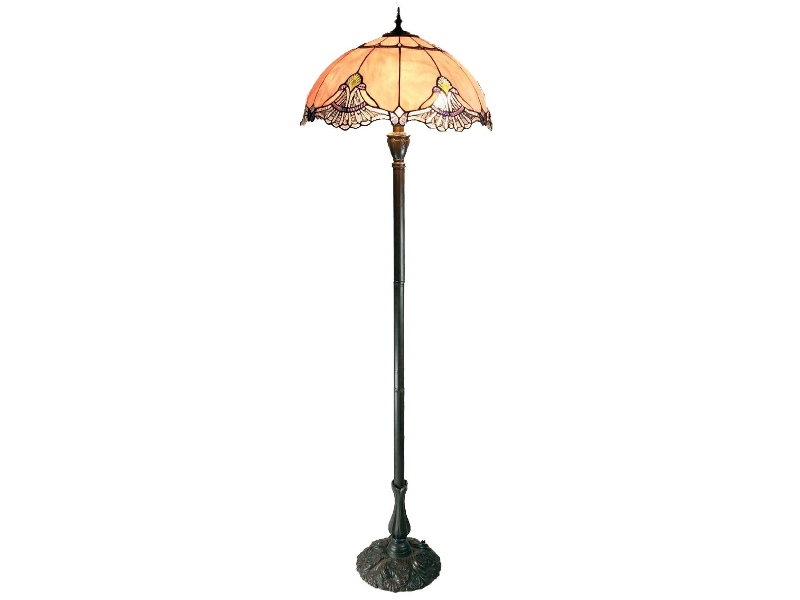 Memphis Tiffany Style Stained Glass Floor Lamp, Blush