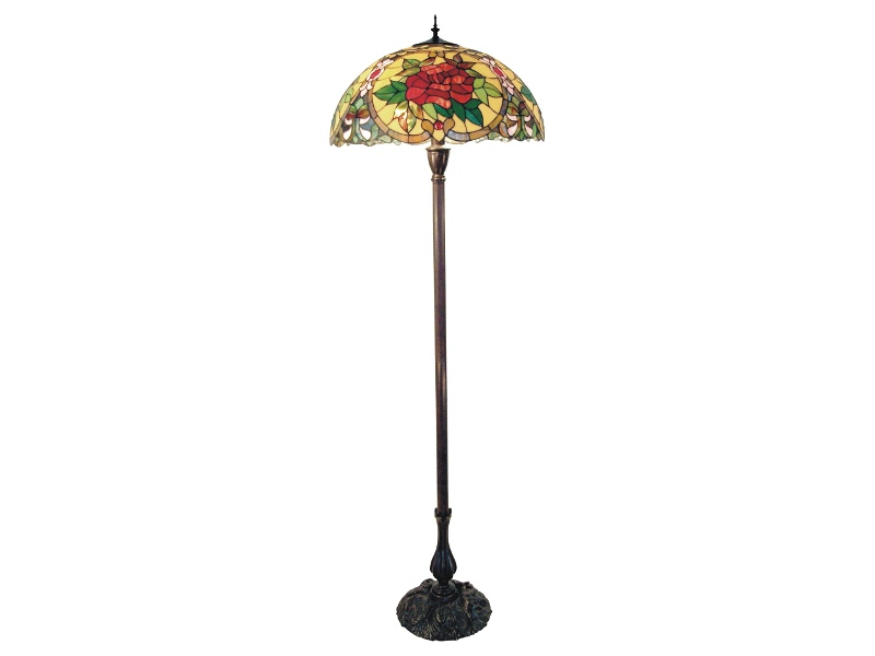 Red Camellia Tiffany Style Stained Glass Floor Lamp