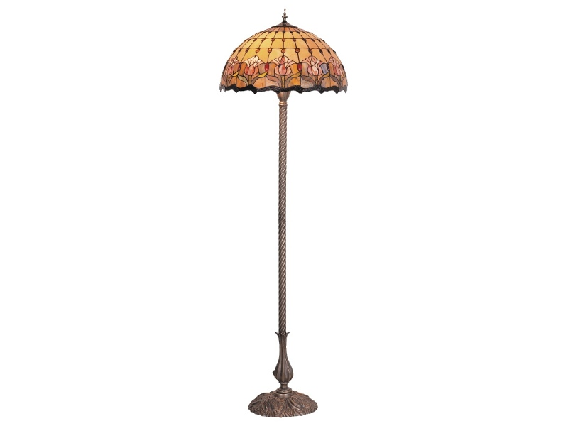 Red Tulip Tiffany Style Stained Glass Floor Lamp