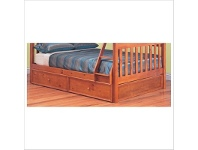 LivingStyles Troy Solid Pine Timber Trio Bunk Bed with Trundle - Teak Stain