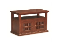 LivingStyles Ruji Mahogany Timber 2 Door TV Stand, 97cm, Mahogany