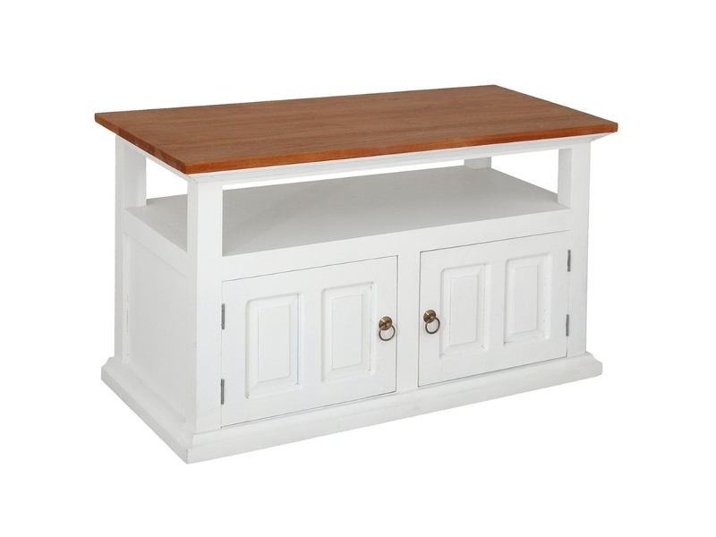 Tasmania Mahogany Timber 2 Door 97cm TV Stand, Caramel/White