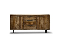 LivingStyles Udall Solid Mango Wood Timber and Metal Sideboard