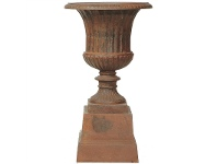 LivingStyles Barrowton Extra Large Cast Iron Garden Urn - Rust