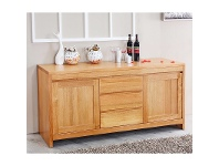 LivingStyles Martina Tasmanian Oak Timber 2 Door 3 Drawer Buffet Table,187cm, Wheat