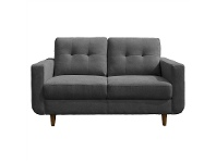 LivingStyles Rosemont Fabric 2 Seater Sofa, Charcoal