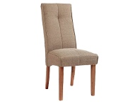 LivingStyles Atarah Fabric Upholstered Rubberwood Timber Dining Chair, Brown