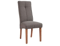LivingStyles Atarah Fabric Upholstered Rubberwood Timber Dining Chair, Charcoal