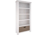 LivingStyles Viborg Mountain Ash Timber Bookcase with Basket Drawer