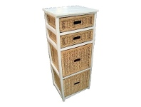 Umina 4 Cane Drawer Mango Wood Tall Cabinet
