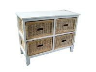 LivingStyles Umina Mango Wood Timber 4 Cane Rattan Baskets Sideboard - White/Natural