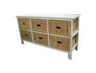 LivingStyles Umina 6 Cane Drawer Mango Wood Wide Cabinet