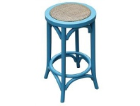 LivingStyles Sherwood Solid Oak Timber Counter Stool with Rattan Seat, Distressed Blue
