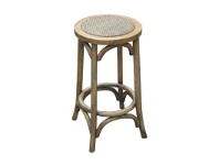 LivingStyles Sherwood Solid Oak Timber Kitchen Stool with Rattan Seat - Distressed Natural