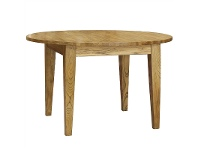 LivingStyles Sherwood Solid Oak Timber Round Dining Table, 120cm, Natural Oak