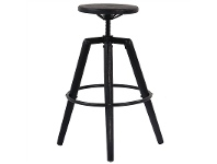 LivingStyles Bristol Birch Timber Industrial Bar Stool, Black