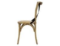 LivingStyles Sherwood Metal Cross Back Oak Timber Dining Chair with Rattan Seat, Natural