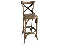 LivingStyles Sherwood Metal Cross Back Counter Chair with Rattan Seat