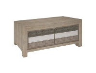 LivingStyles Lafite Acacia Timber 2 Drawer Coffee Table, 130cm