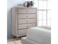 LivingStyles Rizal Fabric 5 Drawer Tallboy