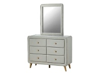 LivingStyles Rizal Fabric 6 Drawer Dresser with Mirror