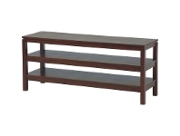 LivingStyles Braque Solid Rubberwood Timber 130cm Lowline TV Stand - Chocolate