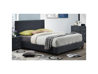 LivingStyles Dominik Fabric Upholstered Bed, Double Bed