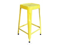 LivingStyles Paris Industrial Iron Counter Stool, Yellow - Distressed