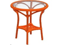 LivingStyles Motala Round Outdoor Glass Top Side Table, Orange