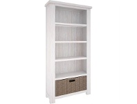 LivingStyles Viborg Solid Mountain Ash Timber Bookcase with Basket Drawer