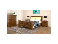 LivingStyles Mulford Solid Pine Timber 3 Drawer Bedside Table