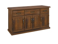 LivingStyles Mulford Solid Pine Timber 4 Door 3 Drawer Buffet Table, 163cm