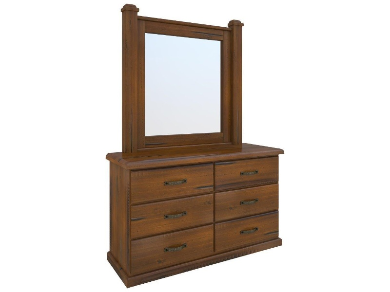 Mulford Solid Pine Timber 6 Drawer Dresser with Mirror, 140cm