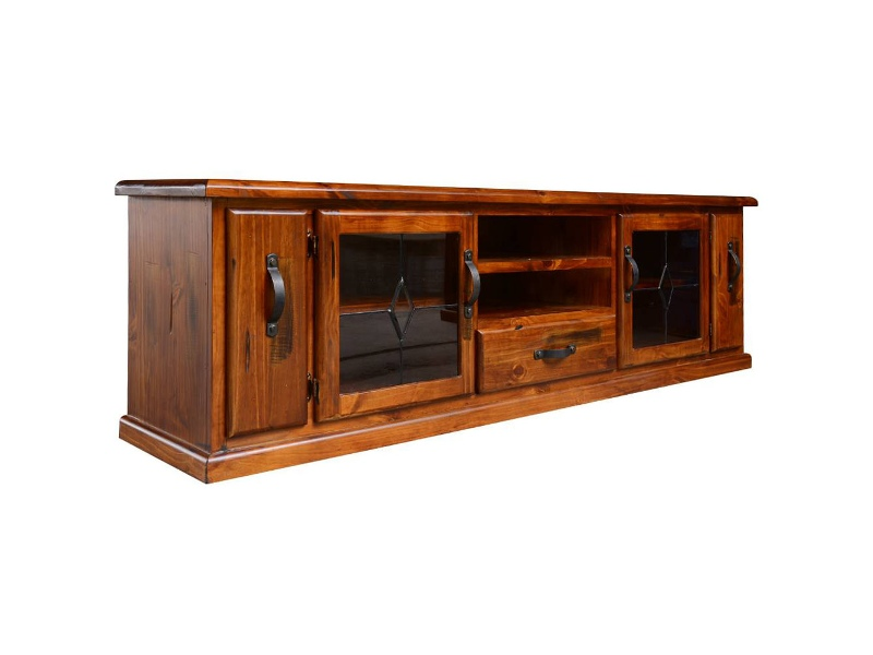 Mulford Solid Pine Timber 2 Door 3 Drawer Low TV Unit, 220cm