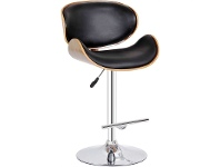 LivingStyles Conner PU Leather Gaslift Swivel Bar Stool, Black