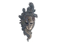 LivingStyles Veronese Cold Cast Bronze Coated Venetian Mask Wall Art, Peacock Headdress