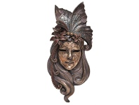 LivingStyles Veronese Cold Cast Bronze Coated Venetian Mask Wall Art, Lily Headdress, Large